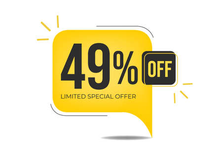 49% off limited special offer. Banner with forty-nine percent discount on a yellow square balloon.