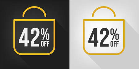 42% off. Black, white and yellow banner with forty-two percent discount. Shopping bag concept vector.