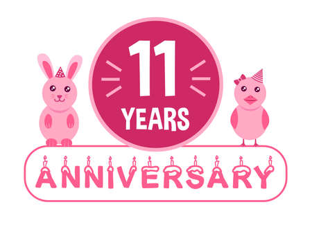 11th birthday. Eleven year anniversary celebration banner theme with pink animals for kids.