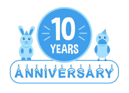 10th birthday. Ten years anniversary celebration banner with blue theme for kids.