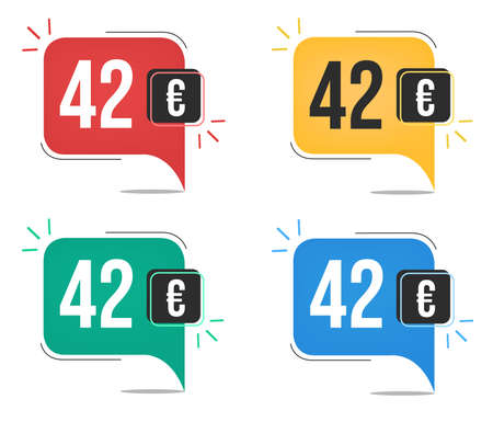 42 euro price. Yellow, red, blue and green currency tags with speech balloon concept.