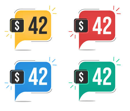 42 dollar price. Yellow, red, blue and green currency tags with speech balloon concept vector.