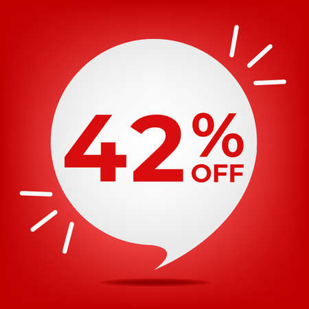 42 percent off. Banner with forty-two percent discount. White bubble on a red background vector.