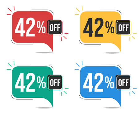 42 percent off. Red, yellow, green and blue tags with forty-two percent discount. Banner with four colorful balloons with special offers vector.