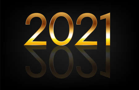 Happy New Year 2021. Vector banner with golden numbers and reflection on a dark background.