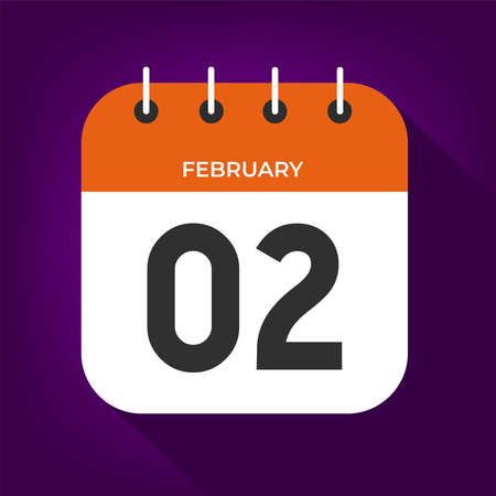 February day 2. Number two on a white paper with orange color border on purple background vector.