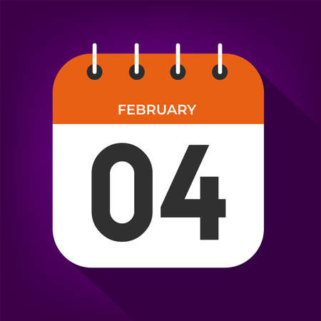 February day 4. Number four on a white paper with orange color border on purple background vector.
