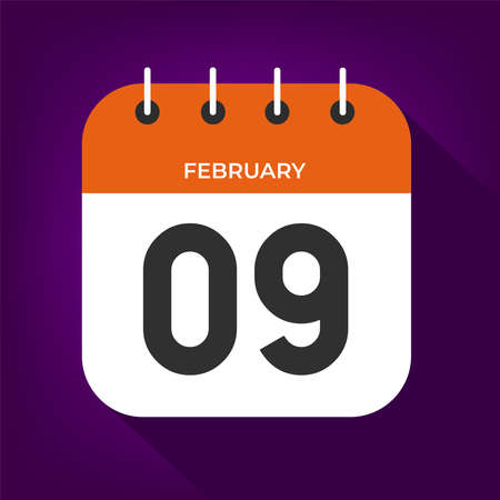 February day 9. Number nine on a white paper with orange color border on purple background vector.