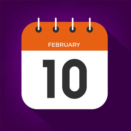February day 10. Number ten on a white paper with orange color border on purple background vector.