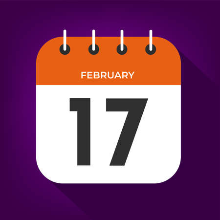 February day 17. Number seventeen on a white paper with orange color border on purple background vector. Vektorové ilustrace