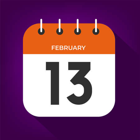 February day 13. Number thirteen on a white paper with orange color border on purple background vector.