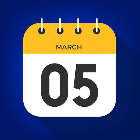 March day 5. Number five on a white paper with yellow color border on a blue background vector.