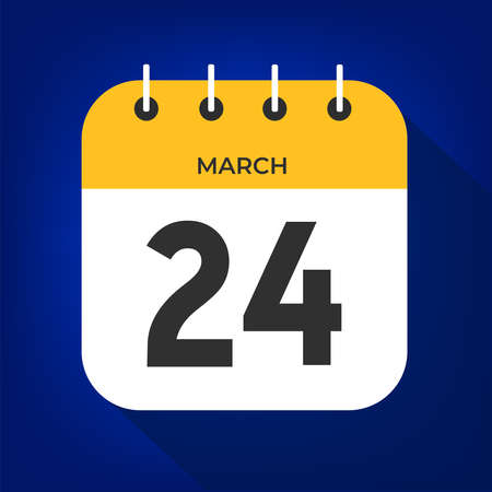March day 24. Number twenty-four on a white paper with yellow color border on a blue background vector. Ilustración de vector
