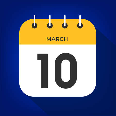March day 10. Number ten on a white paper with yellow color border on a blue background vector.