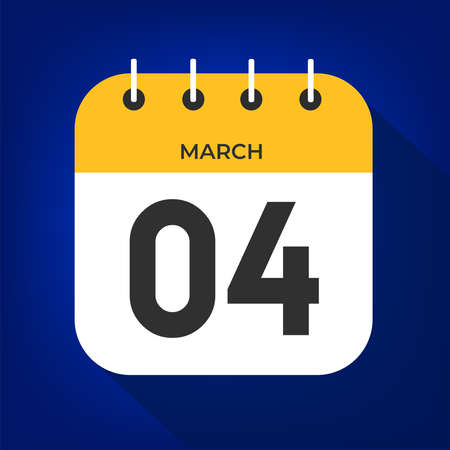 March day 4. Number four on a white paper with yellow color border on a blue background vector.