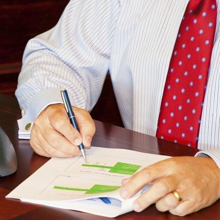 Man Reviewing Data in Report Stock Photo - 12819822