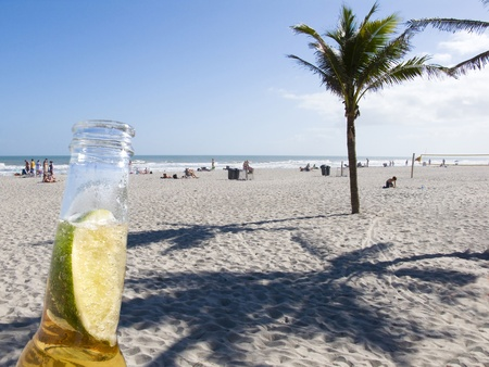 Palm Shadows and a beer with lime on Cocoa Beach Florida Stock Photo - 13205475
