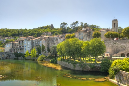 Riverfront homes in the Medieval Village of Sauve France in the Languedoc-Rousillon region