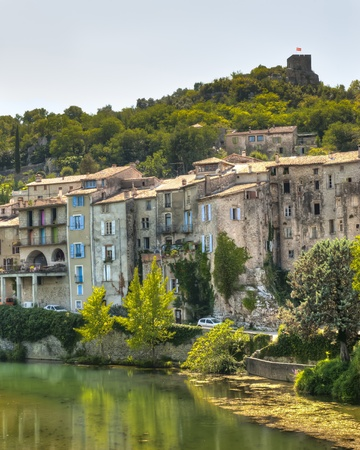 riverfront: Riverfront homes in the Medieval Village of Sauve France in the Languedoc-Rousillon region