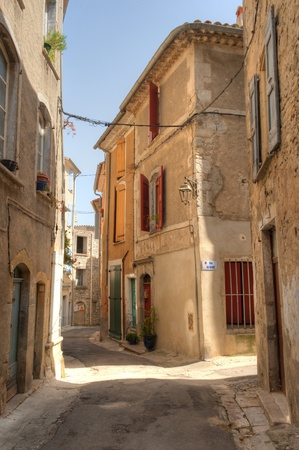 Narrow winding street in the Medieval Village of Sauve France in the Languedoc-Rousillon region