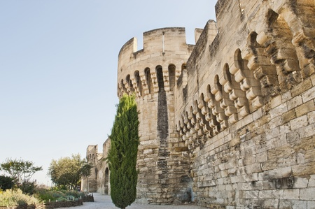 Wall with towers and gates around the medieval city of Avignon France