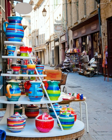 Pottery, a local specialty is for sale in a small shop in Uzes Stock Photo