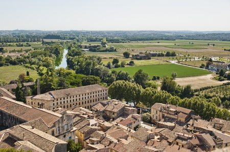Farms Surrounding the Medieval village of Sommiers France as seen from the tower of the old fortress