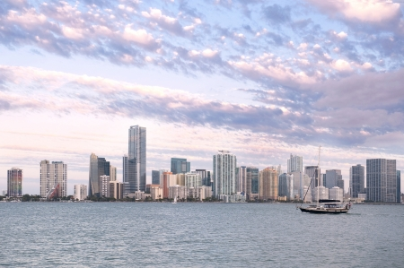 Miami Skyline from Rickenbacker Causeway near Key Biscayne