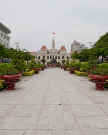 Park by Saigon City Hall with public gardens photo