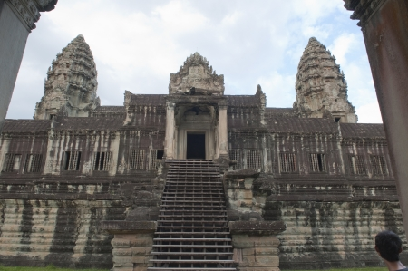 Tourists visit Angkor Wat, Ancient Ruins built in 11th Century