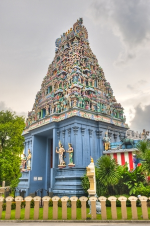 Hindu Temple in Singapore featuring offerings to the gods of Southeast Asia Stock Photo
