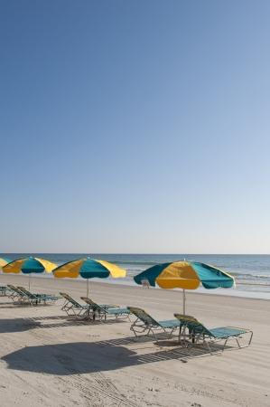 Lounges and Umbrellas on the best tourist destination, Daytona Beach, Florida