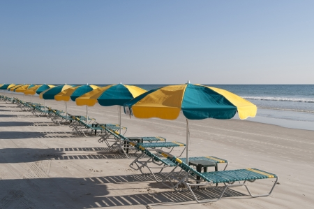 beach umbrella: Lounges and Umbrellas on the best tourist destination, Daytona Beach, Florida