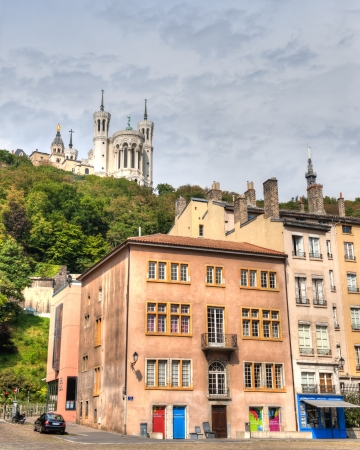 Basillica Fourviere from the city streets below on the banks of the Saone RIver Editorial