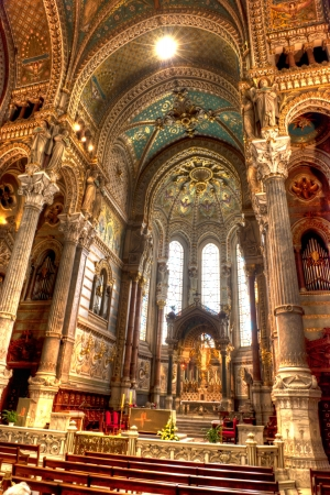 basillica: Mosaic murals depicting Christian events in Basilica of Notre-Dame de Fourviere in Lyon France Editorial
