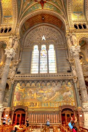 Mosaic murals depicting Christian events in Basilica of Notre-Dame de Fauvier in Lyon France
