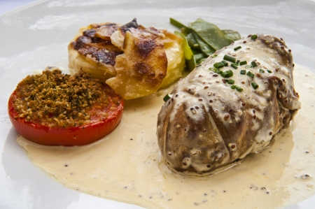 rhone: Entre with Andouillette served at a restaurant in Lyon France