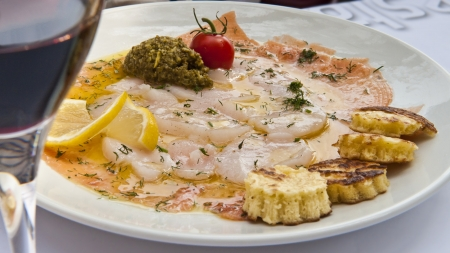 rhone: Entree of fish served in a restaurant in Lyon France.