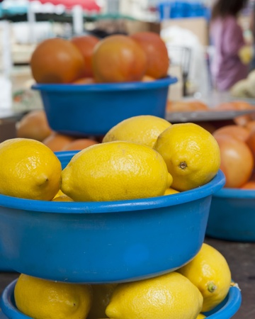 tubs of Lemons for sale at the Saturday Market in Vienne France