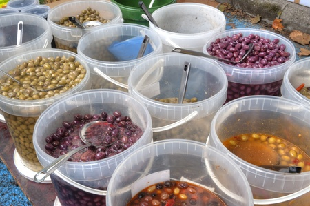 Olives of all kinds in Saturday Market in Vienne France Stock fotó - 13726075