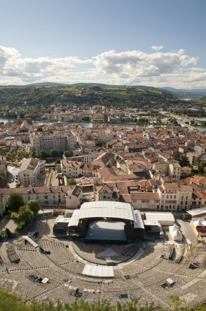 Ancient Roman Theater in Vienne France sits on hillside above the city