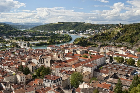 Aerial View of Vienne France   Rhone River