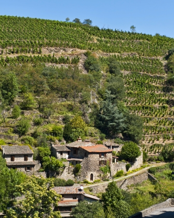 rhone: the medieval village of Malevall above the Rhone River  Stock Photo