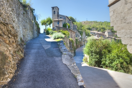 the medieval village of Malevall above the Rhone River  Banco de Imagens