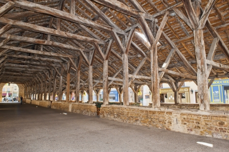 durable: The medieval timbers of the Hall or Market in Cremieu France