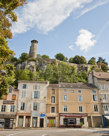 13th century Benedicitine property on Saint-Hippolyte Hill above the main intersection of roads in Cremieu France  Stock Photo