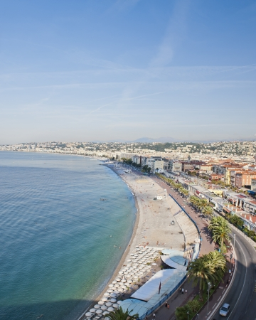cote d'azure: The Coast from Castle Hill Stock Photo
