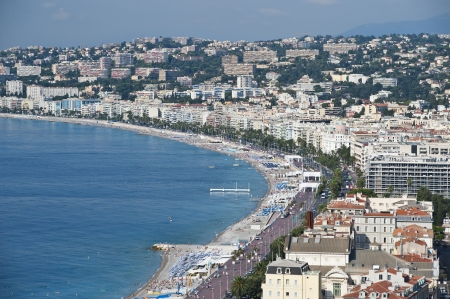 cote d'azure: coastline of Nice Provence France from castle hill