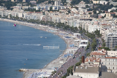 airborne parasail at Nice photographed from Castle Hill  Stock Photo