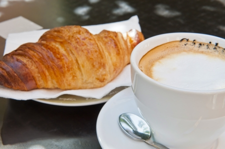 Croissant   Cappuccino for Breakfast